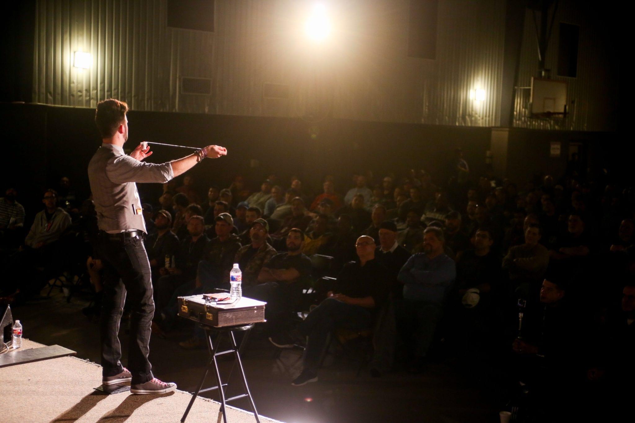 College Magician Grant Price Performing MENTAL